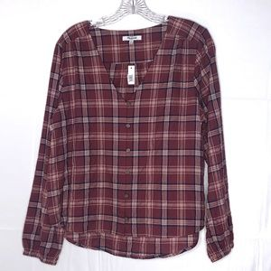 Madewell Stratfield Plaid V Neck Button Down NWT